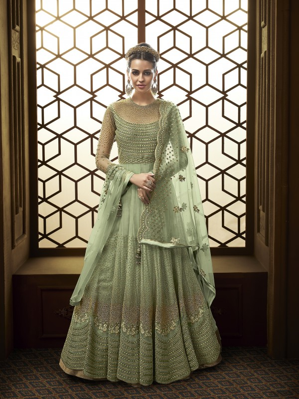 Soft Butter Net Wedding Wear Gown In Light Green With Swarovski Work
