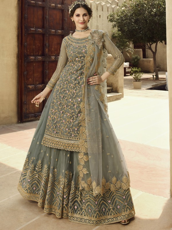 Soft Premium Net  Sharara in Grey color with  Embroidery & Stone work