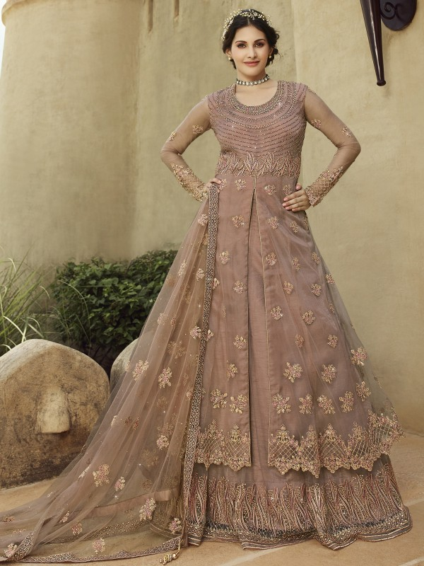 Soft Premium Net Party Wear Lehenega In Light Pink Color With Embroidery & Stone Work