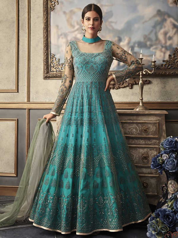 Soft Premium Net Wedding Wear Gown In Turquoise With Embroidery Work