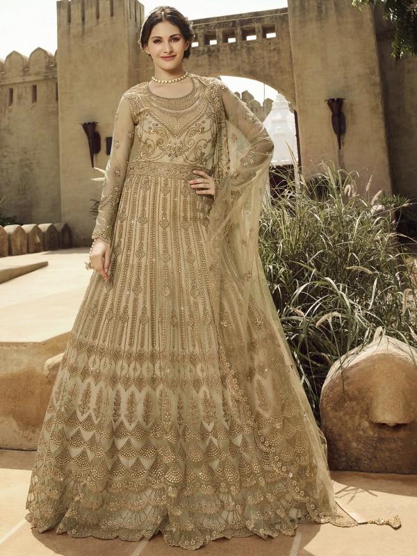 Soft Premium Net Wedding wear Gown in Beige with Embroidery & Stone work