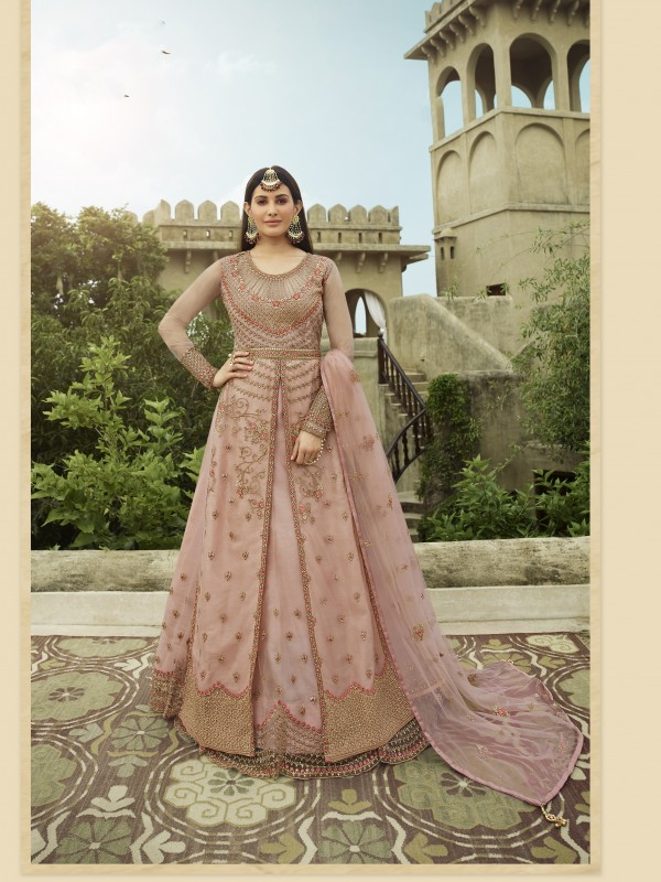 Soft Premium Net Wedding wear Gown in Pink  Color with Embroidery
