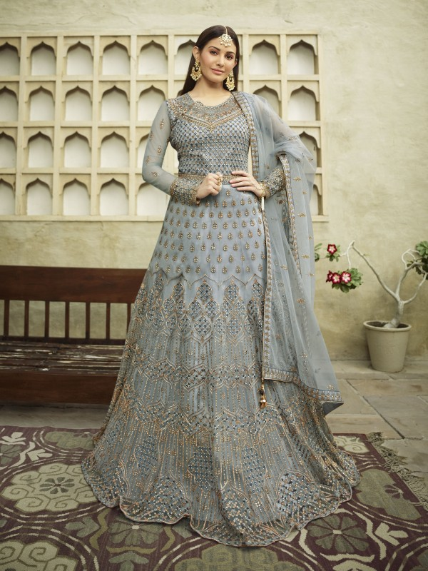 Soft Premium Net Wedding wear Gown in Grey  Color with Embroidery