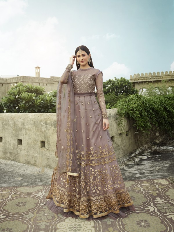 Soft Premium Net Wedding wear Gown in Lavender  Color with Embroidery