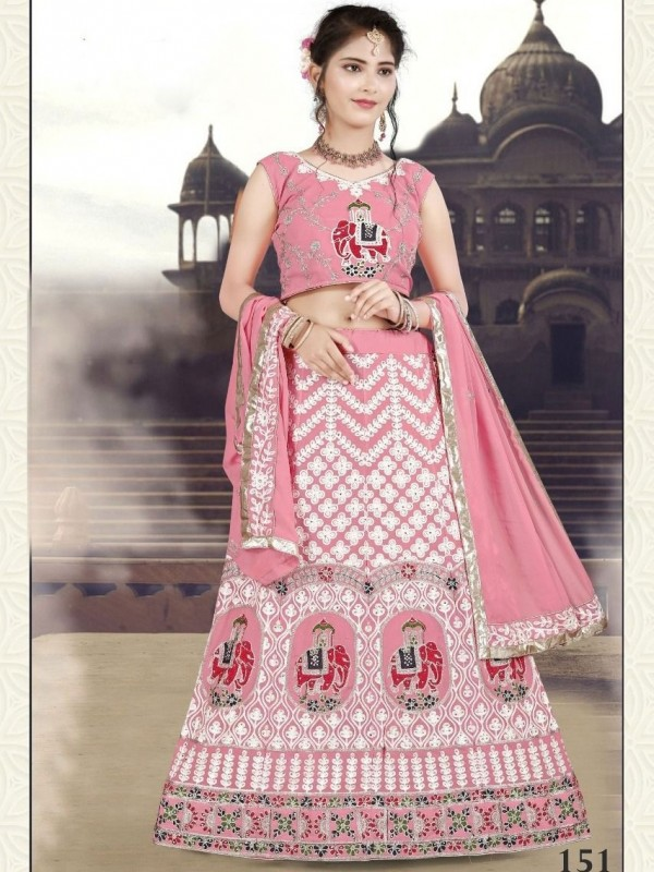 Tapeta  Silk Casual Wear Gown In Pink Color With Embroidery Work