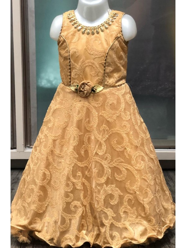 Fancy Imported Fabrics Party Wear Kids Gown In Yellow WIth Embroidery Work