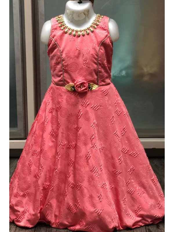 Fancy Imported Fabrics Party Wear Kids Gown In Peach WIth Embroidery Work