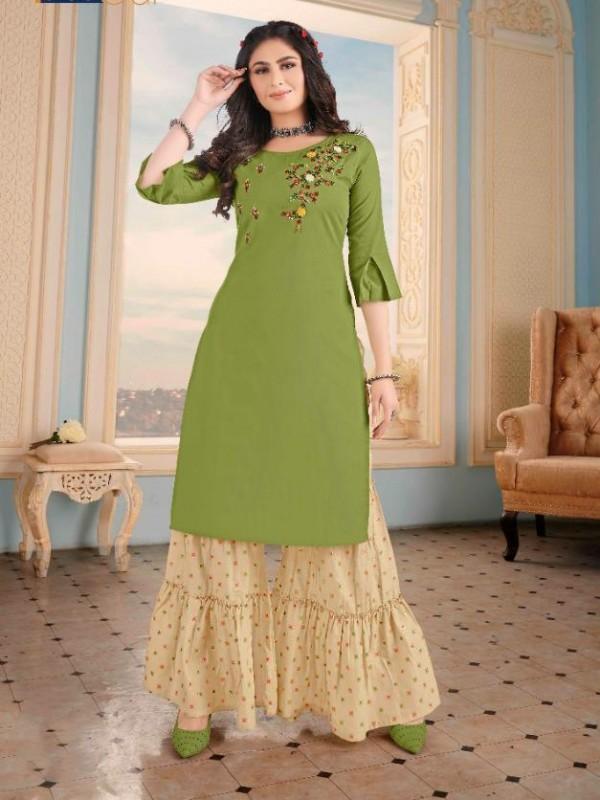 Pure Cotton  Casual Wear Kurti With Garara  In Green & Beige Color