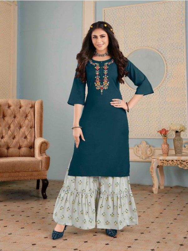 Pure Cotton  Casual Wear Kurti With Garara  In Teal Blue  Color