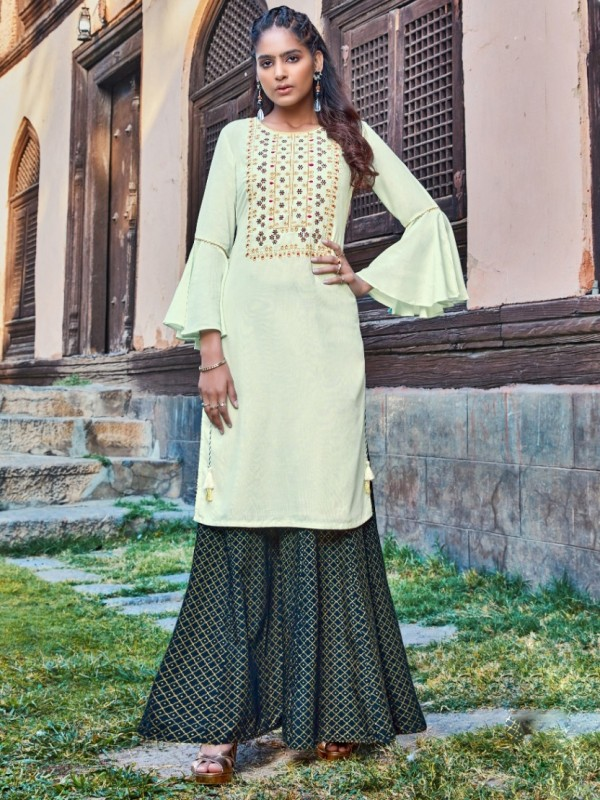 Rayon & Cotton Long Kurti With Sarara In Turquoise Color