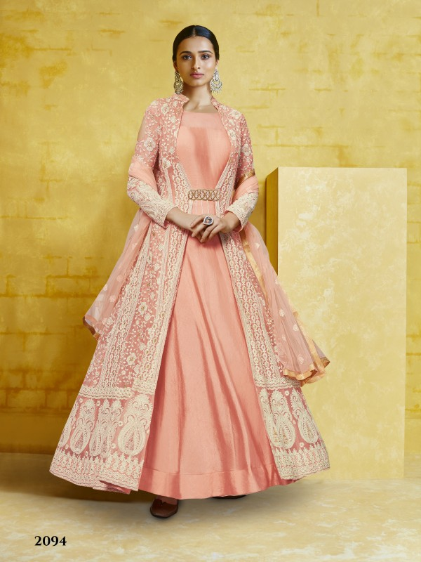 Soft Georgette Party Wear Gown In Pink  With Embroidery Work