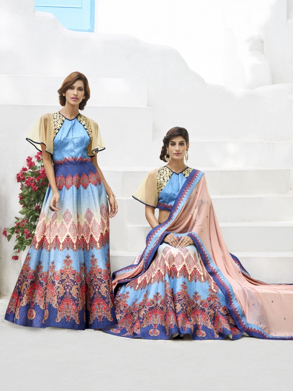 Pure Heritage Silk Party Wear Gown & Lahenga  In Blue color With Digital Print Work & Embrodiery Work