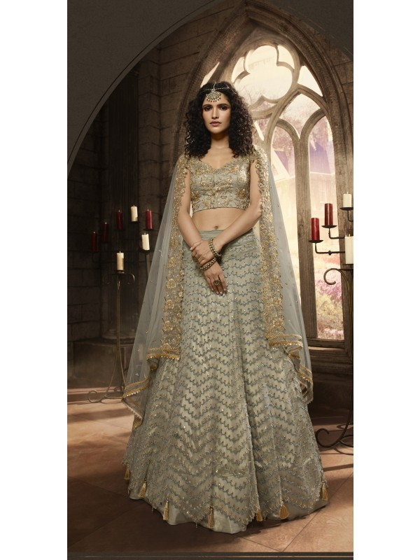 Soft Premium Net Wedding Wear Lahenga In Light Grey Embroidery Work & Sequence Work