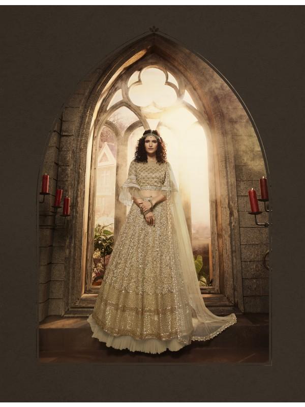 Soft Premium Net Bridal Wear Lahenga In Gold Embroidery Work