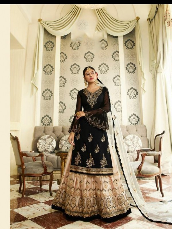 Real Georgette Silk Black&Beige Color With Embroidery