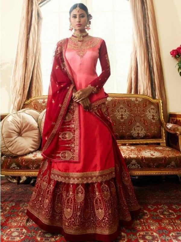 Real Georgette Silk Pink & Maroon Color With Embroidery
