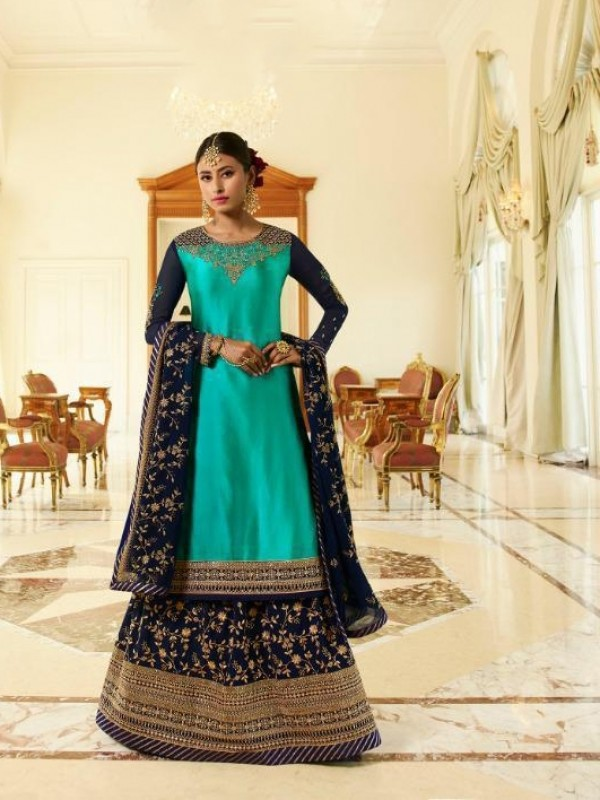 Real Georgette Silk Blue Color With Embroidery