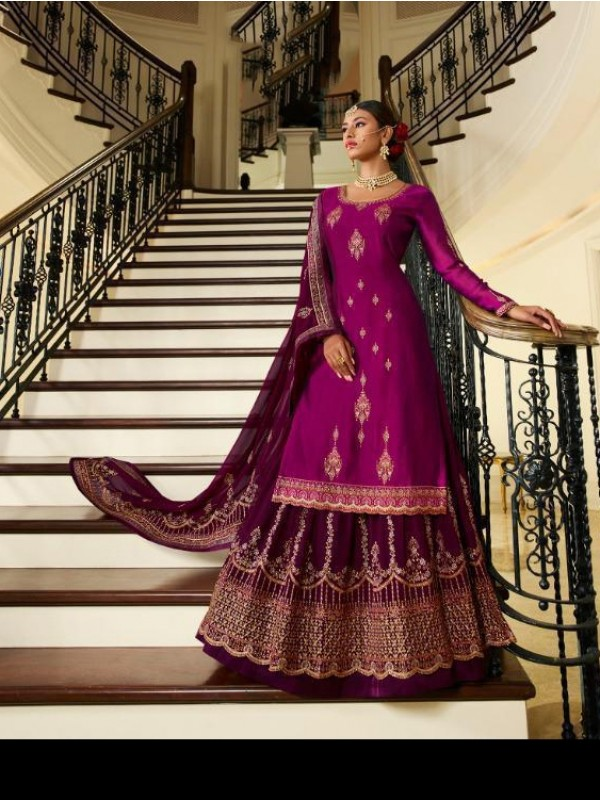 Real Silk Georgette Magenta  Color With Embroidery