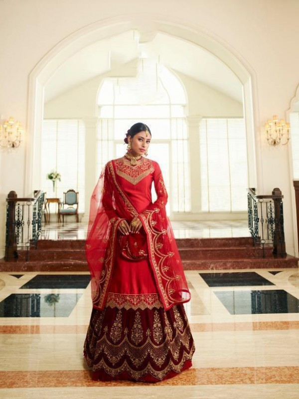 Real Georgette Silk Red & Maroon Color With Embroidery