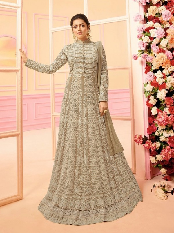 Soft Butter Net Party Wear Gown In Cream With Embroidery & Stone Work