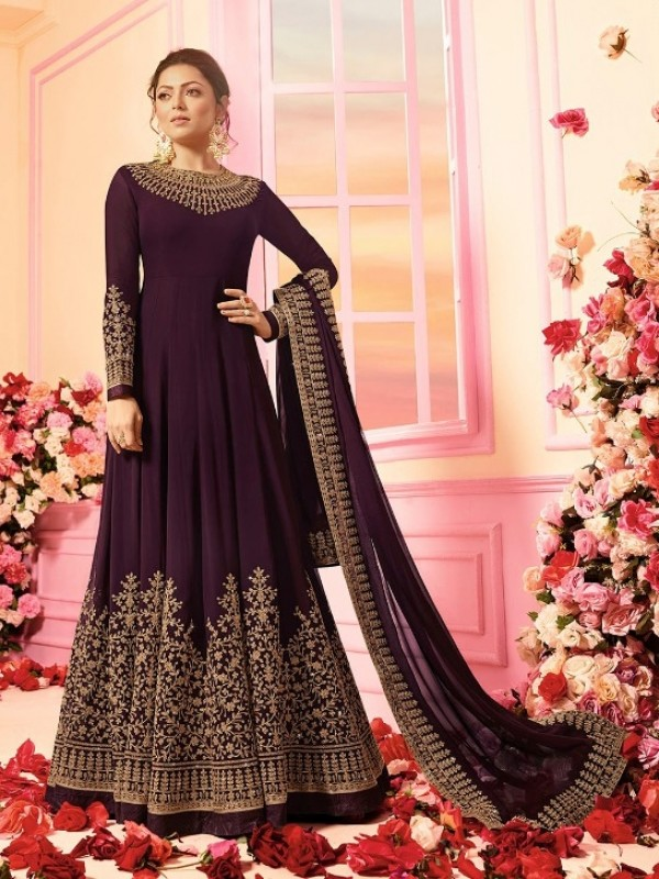 Soft Georgette Party Wear Gown In Purple With Embroidery Work