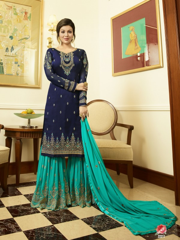 Satin Georgette Party Wear Sharara In Blue & Rama With Embroidery Work