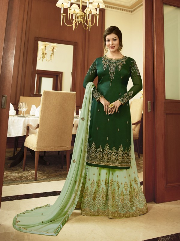 Satin Georgette Party Wear Sharara In Green & Light Green With Embroidery Work