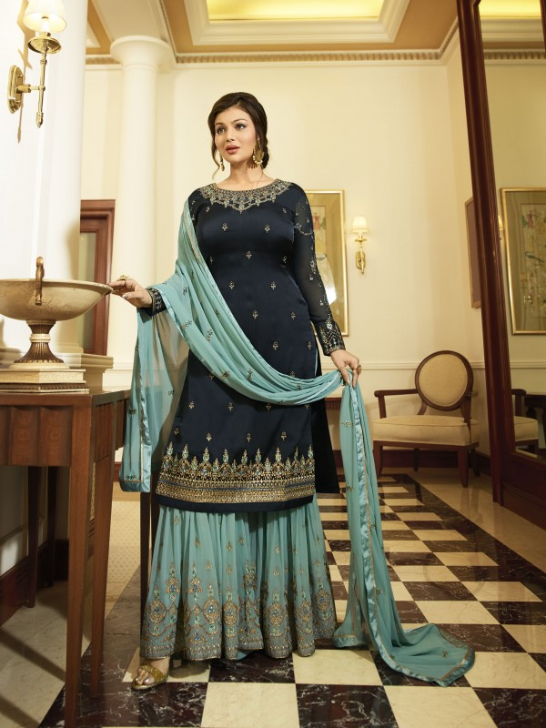Satin Georgette Party Wear Sharara In Blue With Embroidery Work