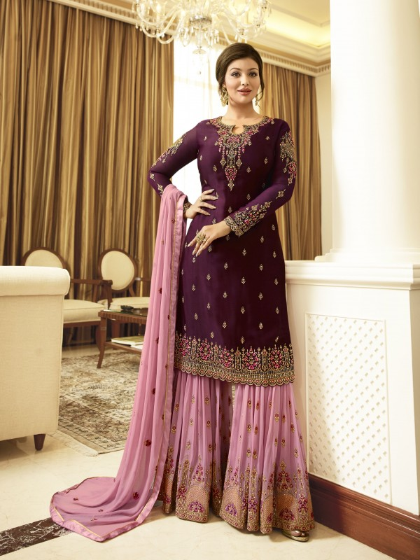 Satin Georgette Party Wear Sharara In Purple & Pink With Embroidery Work