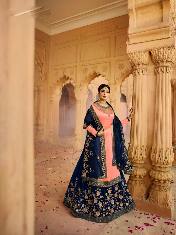 Satin Georgette With Santoon Inner  Lehenga  In Light  Pink & Blue Color