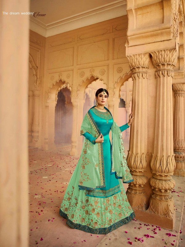 Satin Georgette With Santoon Inner  Sharara In Rama & Green  Color