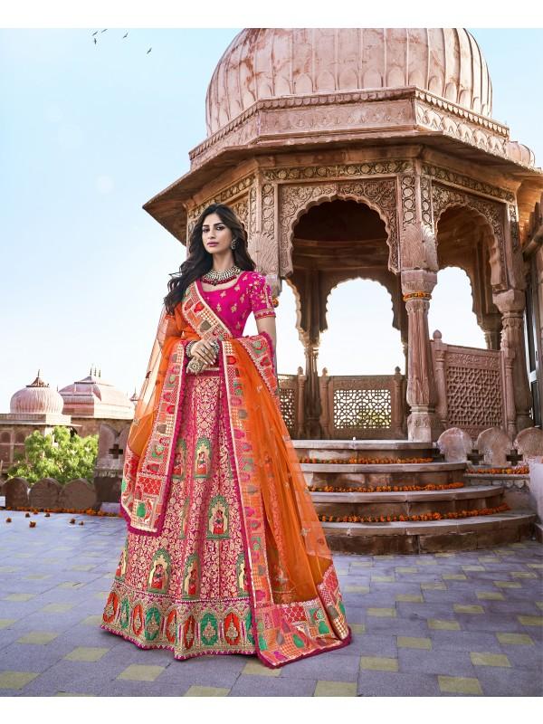 Pure Banarasi Silk Wedding Lehenga in Pink & Orange With Embroidery and stone work