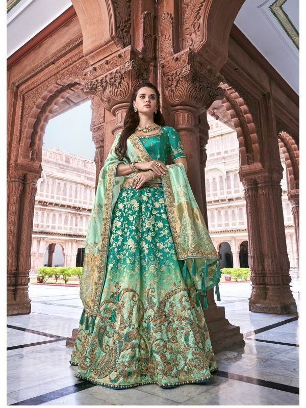 Pure Banarasi Silk Wedding Lehenga in Rama With Embroidery and stone work