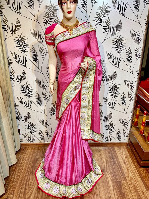 Pure Crape Silk Party Wear Saree In Pink WIth Embroidery Work & Crystal Stone work