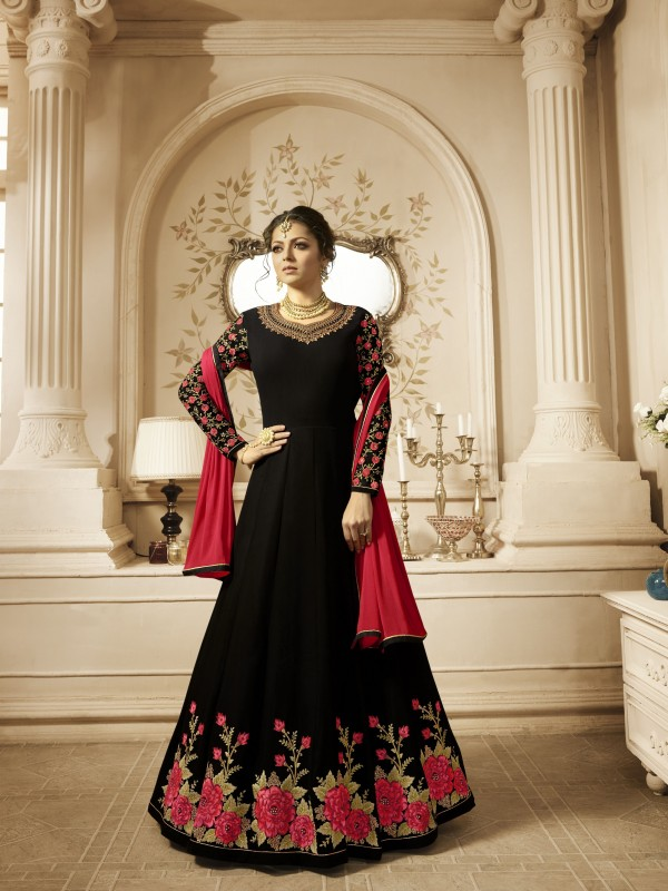 Bemberg Party Wear Gown In Black With Stone Work