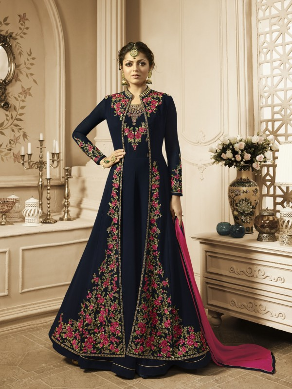 Georgette Party Wear Gown  in Blue with Stone work