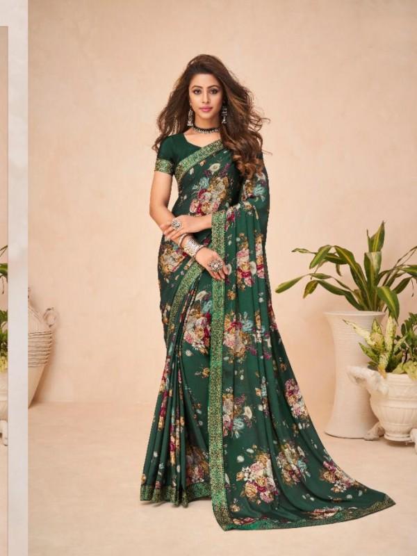 Dark Green Color in Crepe Silk Casual Wear Saree