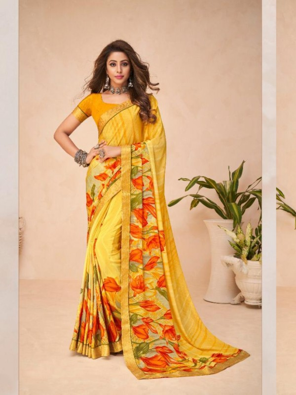 Yellow Color in Crepe Silk Casual Wear Saree