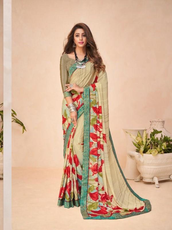 Beige Color in Crepe Silk Casual Wear Saree