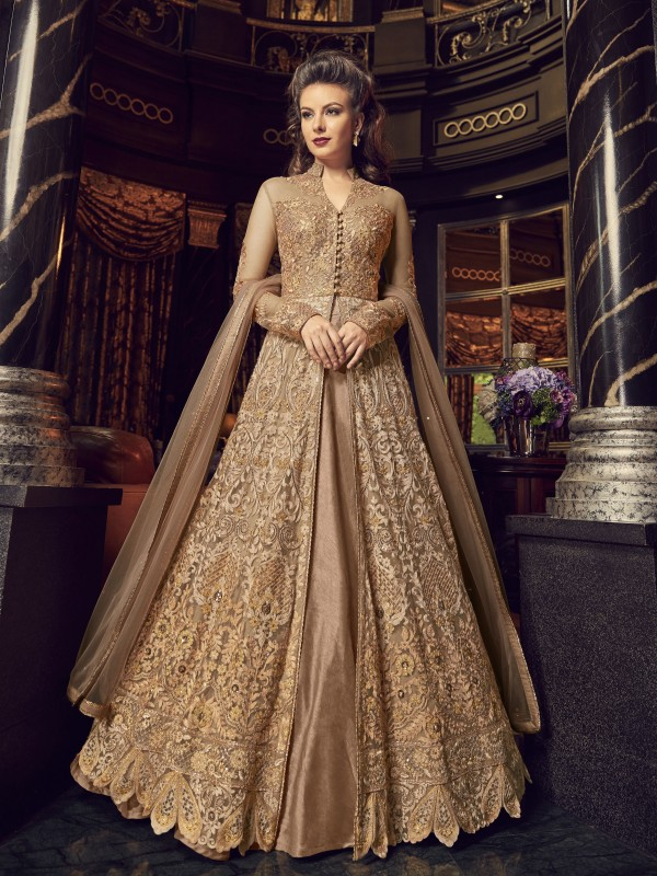 Crystal Stone Work Soft Premium Net Party Wear Lehenga In Golden Color