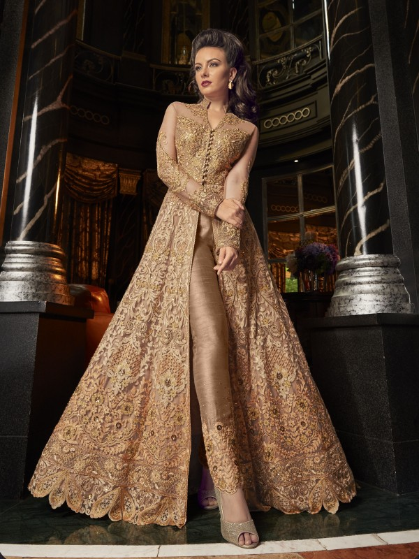 Crystal Stone Work Soft Premium Net Wedding Wear Gown In Golden Color