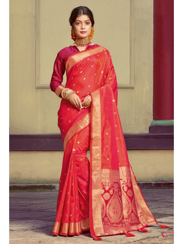 Hand Loom Silk Party Wear Saree In Red Color With Printed