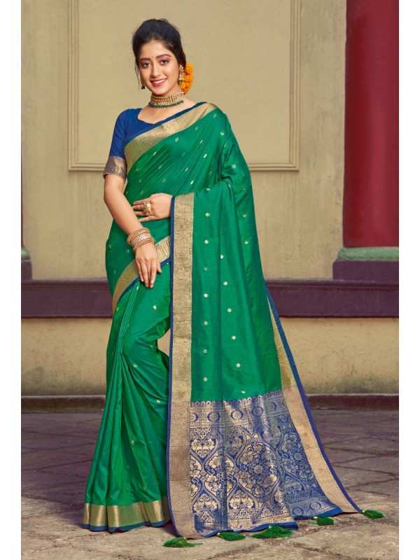 Hand Loom Silk Party Wear Saree In Green Color With Printed