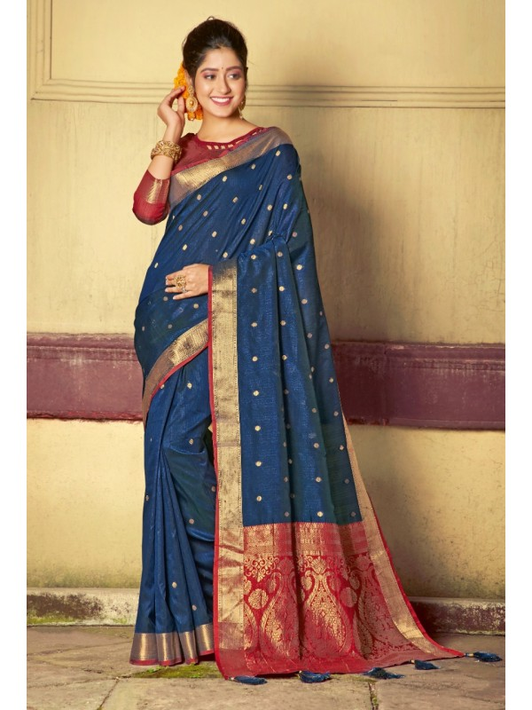 Hand Loom Silk Party Wear Saree In Navy Blue Color With Printed