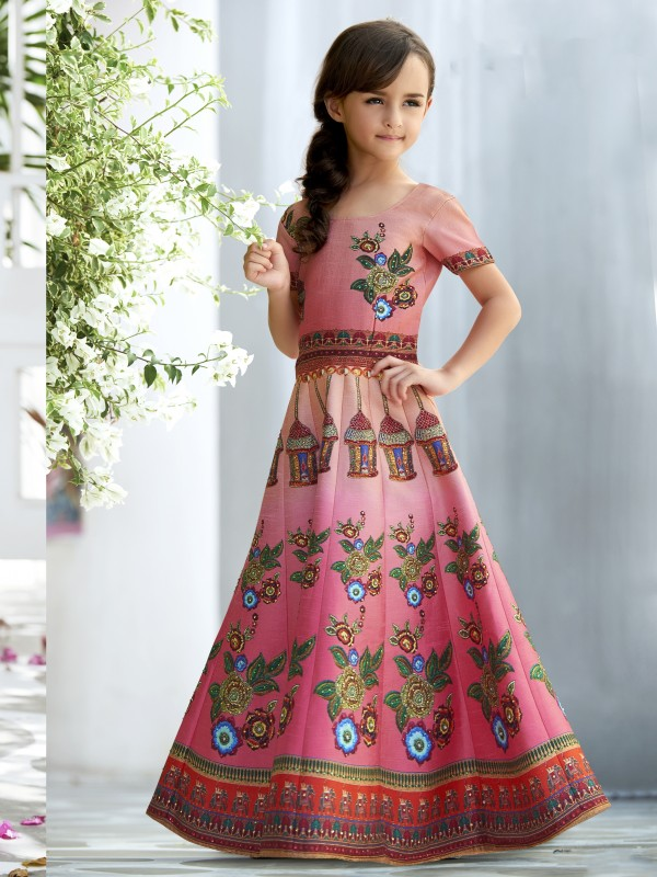 Pure Heritage Silk Party Wear Kids Gown In Pink  WIth Digital Print Work & Stone Work