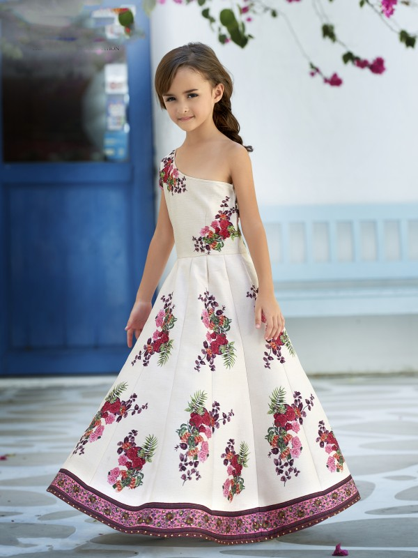 Pure Heritage Silk Party Wear Kids Gown In Off White  WIth Digital Print Work & Stone Work