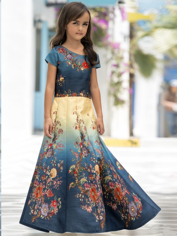 Pure Heritage Silk Party Wear Kids Gown In Blue WIth Digital Print Work & Stone Work