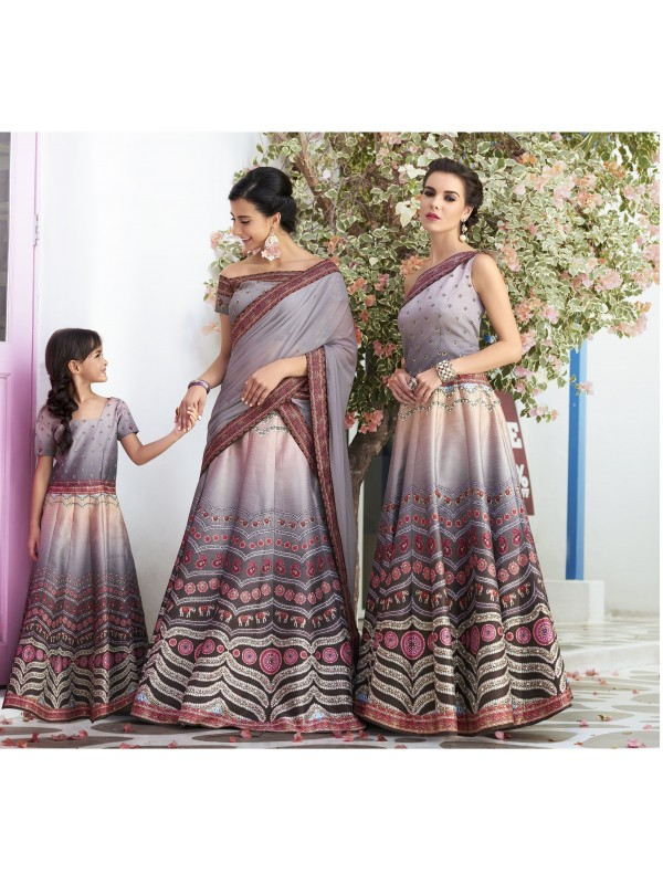 Pure Heritage Silk Party Wear Mother Daughter Lehenga In Grey WIth Digital Print Work & Stone Work
