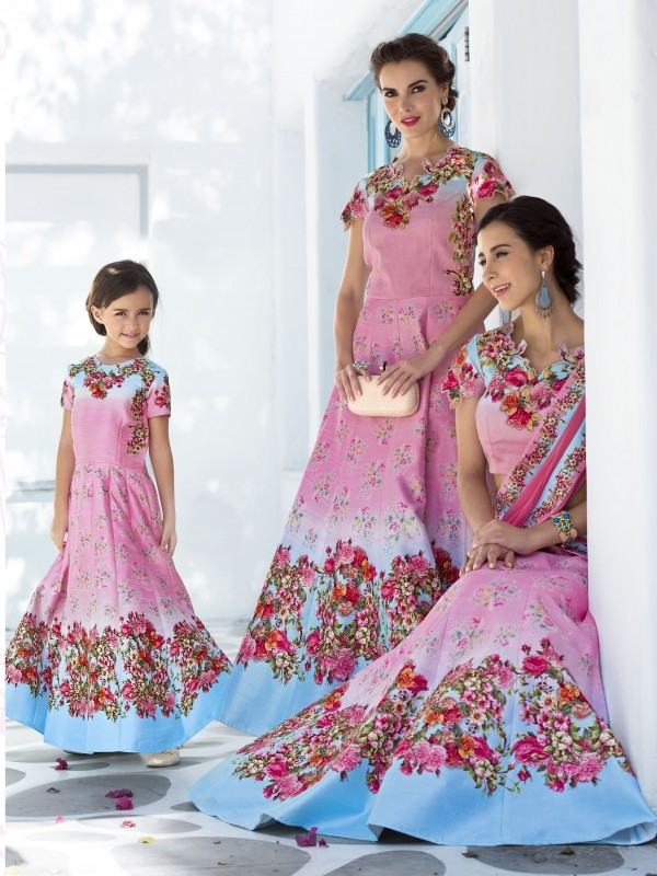Pure Heritage Silk Party Wear Mother Daughter Lehenga In Pink WIth Digital Print Work & Stone Work