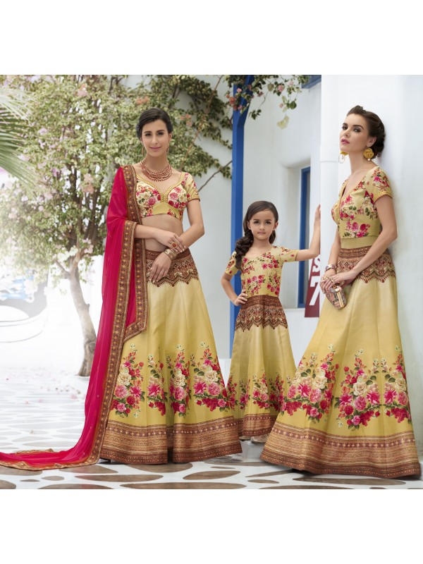 Pure Heritage Silk Party Wear Mother Daughter Lehenga In Yellow WIth Digital Print Work & Stone Work
